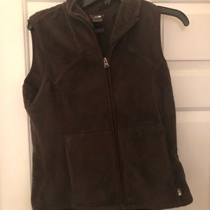North face women chocolate brown fuzzy vest size M